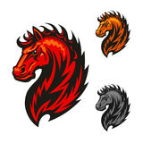 Red horse with bright flaming mane. Fire horse or devil stallion symbol with head of an angry horse with orange and red flaming mane. For sport team mascot or t Royalty Free Stock Photos