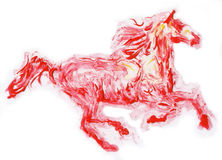 Red horse running ,  hand made painting. Red horse running , High Texture chemical reaction hand made painting Royalty Free Stock Photos