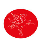 Red horse with wings logo fly vector Royalty Free Stock Image