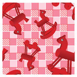 Red horses on checked pink background Stock Images