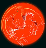 Red horses (vector). Red horses jumping in the ring of fire. Scalable vector *.EPS format is included Royalty Free Stock Image