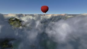 Red hot air balloon. Against blue sky made in 3d software Stock Images