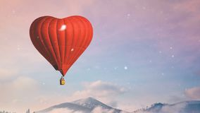 Red hot air balloon heart shape fly in blue and pink pastel sky stock video