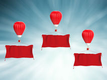 Red hot air balloon with red cloth banner. 3d rendering red hot air balloon with red cloth banner Stock Images
