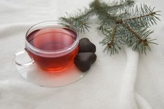Red hot aromatic tea made from forest fruits or herbal or apples or red fruits in the glass cup on a white blanket. stock photo