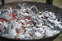 Red hot BBQ coals. Red hot burning BBQ coals with gray ash Royalty Free Stock Images