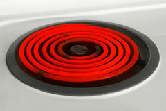 Red hot burner. Stove burner on electric stove red with heat Royalty Free Stock Images