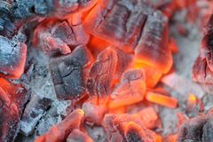 Red Hot Burning Coals. For barbeque Royalty Free Stock Image