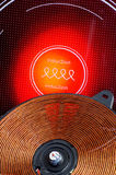 Red hot ceramic hotplate detail copper spiral Royalty Free Stock Image