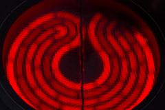 Red hot ceramic stoves of electric cooker stock photo
