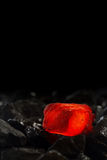 Red hot Charcoal on raw coal. Background stock photo