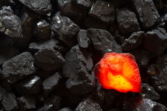 Red hot Charcoal on raw coal. Background royalty free stock images