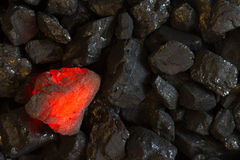 Red hot Charcoal on raw coal. Background royalty free stock photos