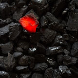 Red hot Charcoal on raw coal. Background stock photos