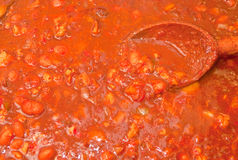 Red Hot Chili. Red hot three alarm chili with beans Stock Photography