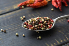 Red hot chili cayenne peppers dried, variety - spicy ingredient Stock Photo