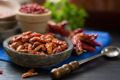 Red hot chili cayenne peppers dried, variety - spicy ingredient Stock Photos