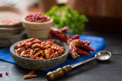 Red hot chili cayenne peppers dried, variety - spicy ingredient Royalty Free Stock Images