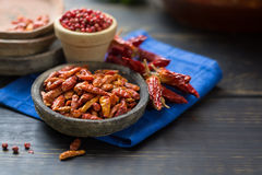 Red hot chili cayenne peppers dried, variety - spicy ingredient Royalty Free Stock Photography