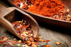 Red hot chili flakes and powder Stock Image