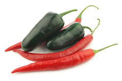 Red hot chili and green peppers jalapeno Royalty Free Stock Photography