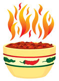 Red Hot Chili In Bowl With Fla Royalty Free Stock Photo