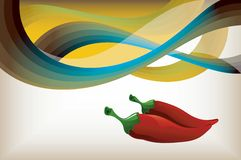 Red Hot Chili Pepper. On Abstract Curve Background Stock Photos
