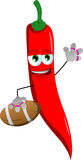 Red hot chili pepper as American football player Royalty Free Stock Photography