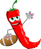 Red hot chili pepper as American football player Royalty Free Stock Image