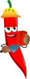 Red hot chili pepper as bricklayer with brick and trowel Stock Image