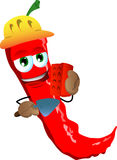 Red hot chili pepper as bricklayer with brick and trowel Stock Images
