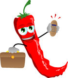 Red hot chili pepper as businessman with phone Stock Image