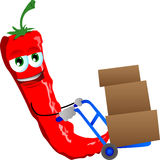 Red hot chili pepper as delivery man Royalty Free Stock Photos