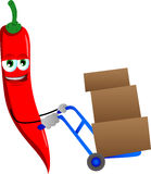 Red hot chili pepper as delivery man Stock Images