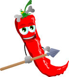 Red hot chili pepper as native holding a spear Royalty Free Stock Image