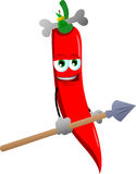 Red hot chili pepper as native holding a spear Stock Photo