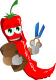 Red hot chili pepper as tailor with scissors Stock Image