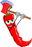 Red hot chili pepper with an axe Royalty Free Stock Images
