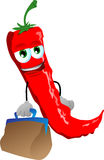 Red hot chili pepper with bag Royalty Free Stock Image