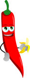 Red hot chili pepper with banana Stock Images
