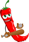Red hot chili pepper Baseball player Royalty Free Stock Photography
