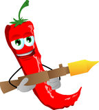 Red hot chili pepper with bazooka Stock Photography