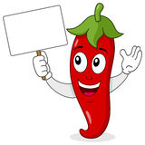 Red Hot Chili Pepper with Blank Banner. A cheerful cartoon red hot chili pepper character smiling and holding a blank banner, isolated on white background. Eps Stock Photo