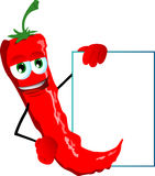 Red hot chili pepper with blank board Stock Photo