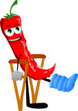 Red hot chili pepper with a broken leg walking on crutches Stock Photography