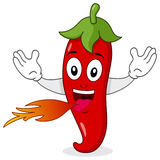 Red Hot Chili Pepper Character. A fiery cartoon red hot chili pepper character, isolated on white background. Eps file available Stock Image