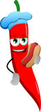 Red hot chili pepper chef with hot dog Royalty Free Stock Image