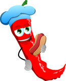 Red hot chili pepper chef with hot dog Stock Photos