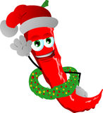 Red hot chili pepper with Christmas wreath and Santa hat Stock Images