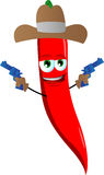 Red hot chili pepper cowboy with gun Royalty Free Stock Photography